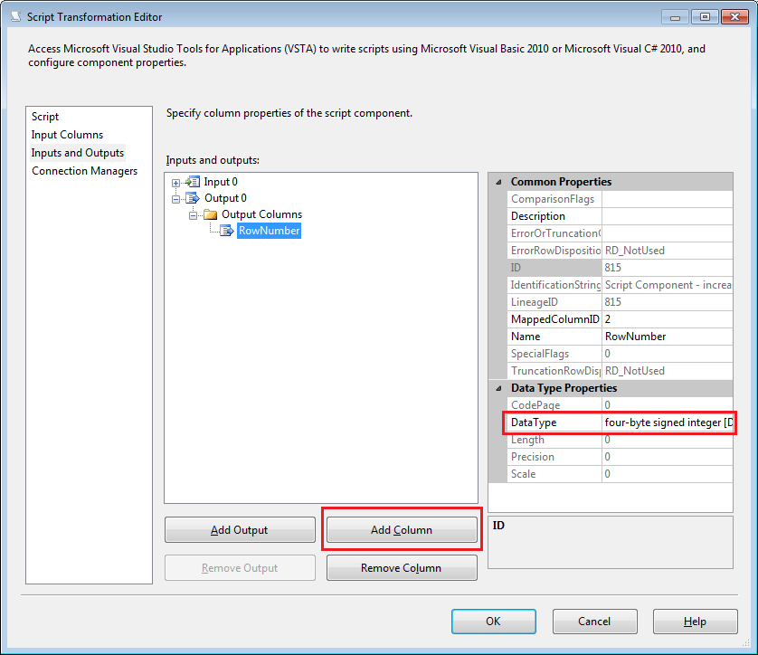 How to add a rownumber to a Data Flow Task in SSIS 2012